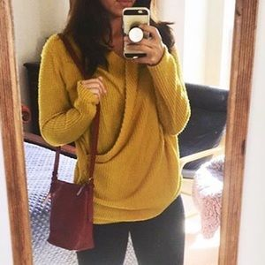 MUSTARD COLORED WAFFLE NORDSTROM SWEATER